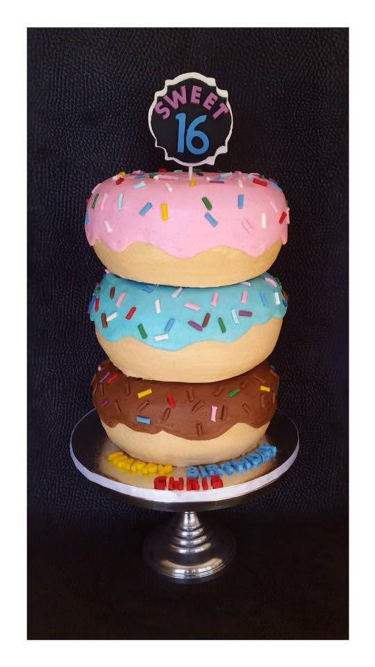 """Triple Donut Cake covered in buttercream. Total height 12"""", width 8"""". Jumbo donut. Giant donut. Sweet sixteen. Sprinkle donut."""