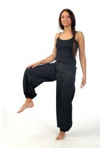 Pantalon basic ethnic mixte noir fil vert Dal - FZ1548 - 100% pur coton doux et léger du Népal.