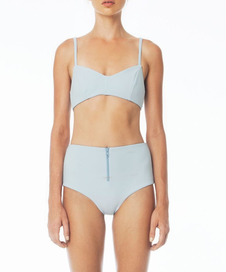Julius Top | Baby Blue. 73% PA 27% EA | Heat bonded Italian Lycra This super luxurious medium weight, matte finish lycra sculpts and contours your body to create a beautifully flattering and supportive fit The Julius is the perfect heat bonded essential, with thin straps, back clasp and suitable for all bust sizes  Pictured with the Jackson bonded bottom
