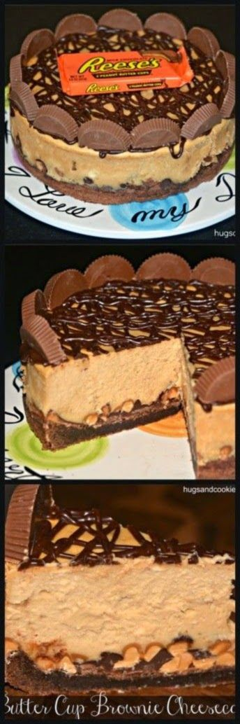 HolysweetbabyJesus. Will someone PLEASE make this for me? Reese's Peanut Butter Cup Cheesecake On A Brownie Crust