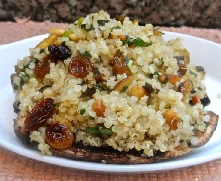 Quinoa-Stuffed Portobello Mushroom Caps with Raisins and Pignoli Nuts (Ronnie Fein/Hearst Newspapers)