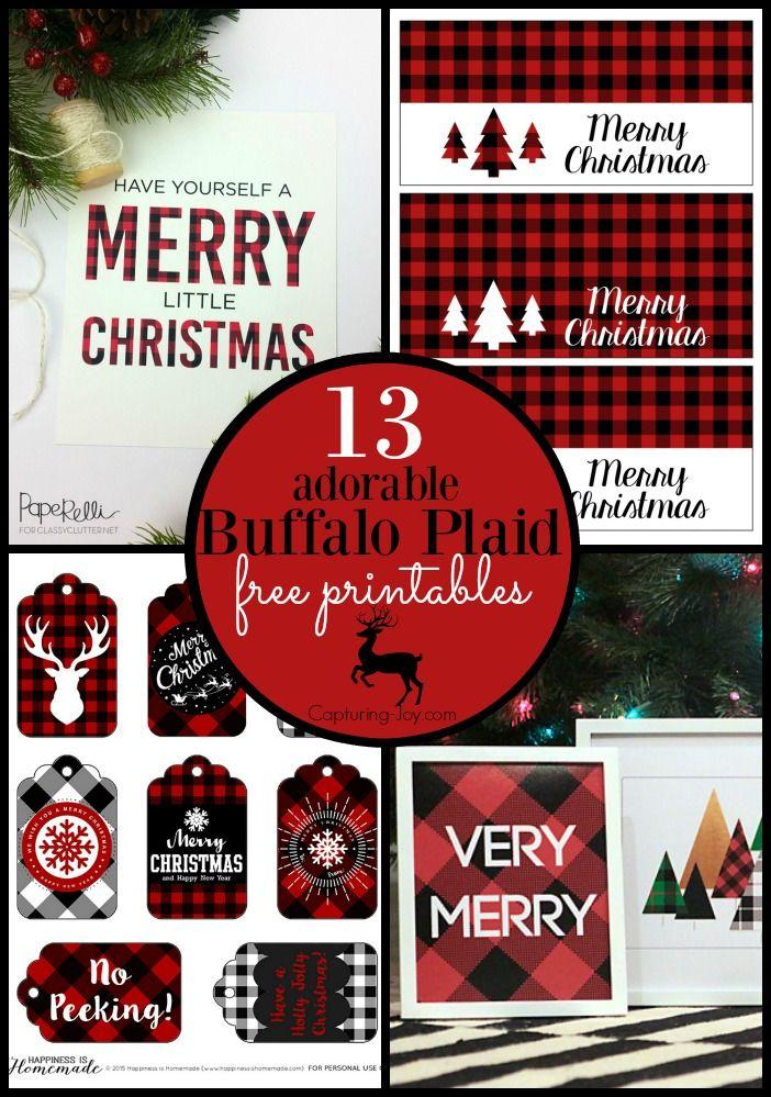 13 adorable buffalo plaid free printables for Christmas holiday wrapping and decoration!  Capturing-Joy.com