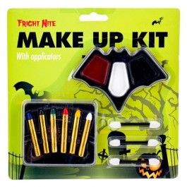 Choose your favourite Halloween character and get into the spirit with this make-up kit! Kit contains 6 coloured make-up sticks, cream paint make-up and 3 applicators. Please read the instructions on packaging carefully before starting your make-up. Ages 5 +. Not suitable for children under 36 months.  Choking hazard due to small parts.