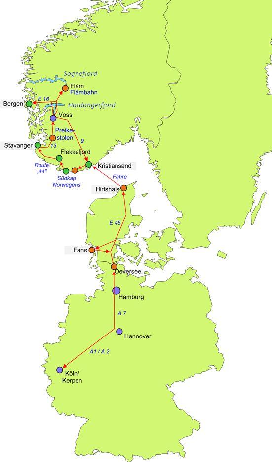 Unsere Route - von Deutschland über Dänemark nach Südnorwegen