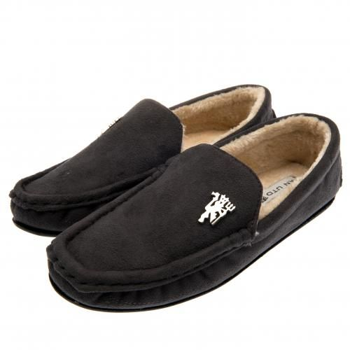 MANCHESTER UNITED Luxury Men's Moccasin Slippers with soft fleece lined insole and metal Manchester United badge. Shoe size 11 / 12 (UK) 45 / 46 (EU). Official Licensed Manchester United gift