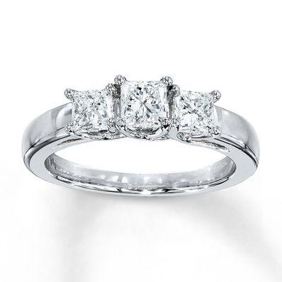 3 Stone Diamond Ring 1 Ct Tw Princess Cut 14k White Gold