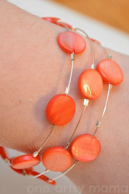 Coral Memory Wire Bracelet, different idea with crimp beads