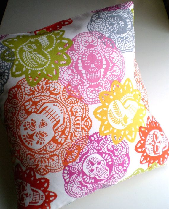 Dia de los muertos sugar skulls pillow cover: because why should Dia de los muertos only last a few days out of the year?