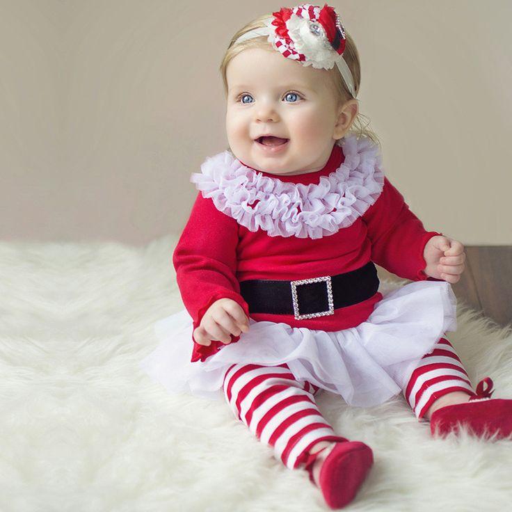 Red velvet santa claus cute baby girl costume christmas