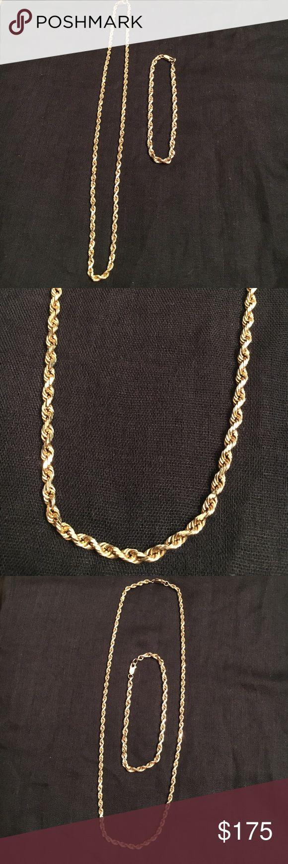 Unisex 14k yellow gold rope chain and bracelet Stunning unisex 14k yellow gold rope chain necklace and bracelet!!  Lengths are 9 and 20 in.  Both pieces are in very good condition with no imperfections.  Both are heirloom pieces, perfect for ladies or gents, dads or grads. Jewelry Necklaces