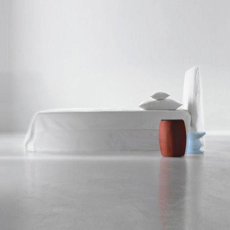 Gervasoni - Ghost 80.E Doppelbett mit Husse - weiß/ohne Matratzte/Lattenrost/Liegefläche 160x200cm