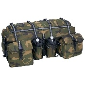 """5pc Nylon Camo Trike Motorcycle or ATV Bag Set Set includes27"""" x 10"""" x 9-1/2"""" bag with adjustable dividers and pouch for tent; two 8"""" x 8-1/2"""" x 6"""" insulated storage bags; and two insulated beverage holders. Features reflective strips on tie down straps."""