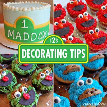 Decorating tips for a Sesame Street smash cake and cupcakes