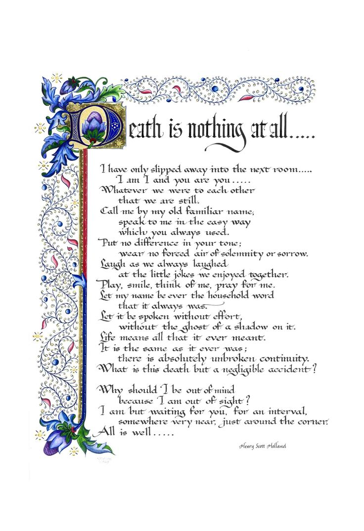 Death is nothing at all print a poem by henry scott holland more
