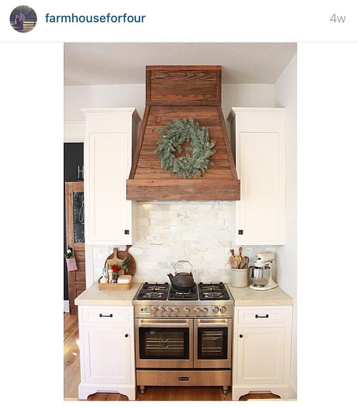 """I love how @farmhouseforfour covered her hood for her range vent in wood.  I think I've showed this image to my husband at least 100 times...…"""