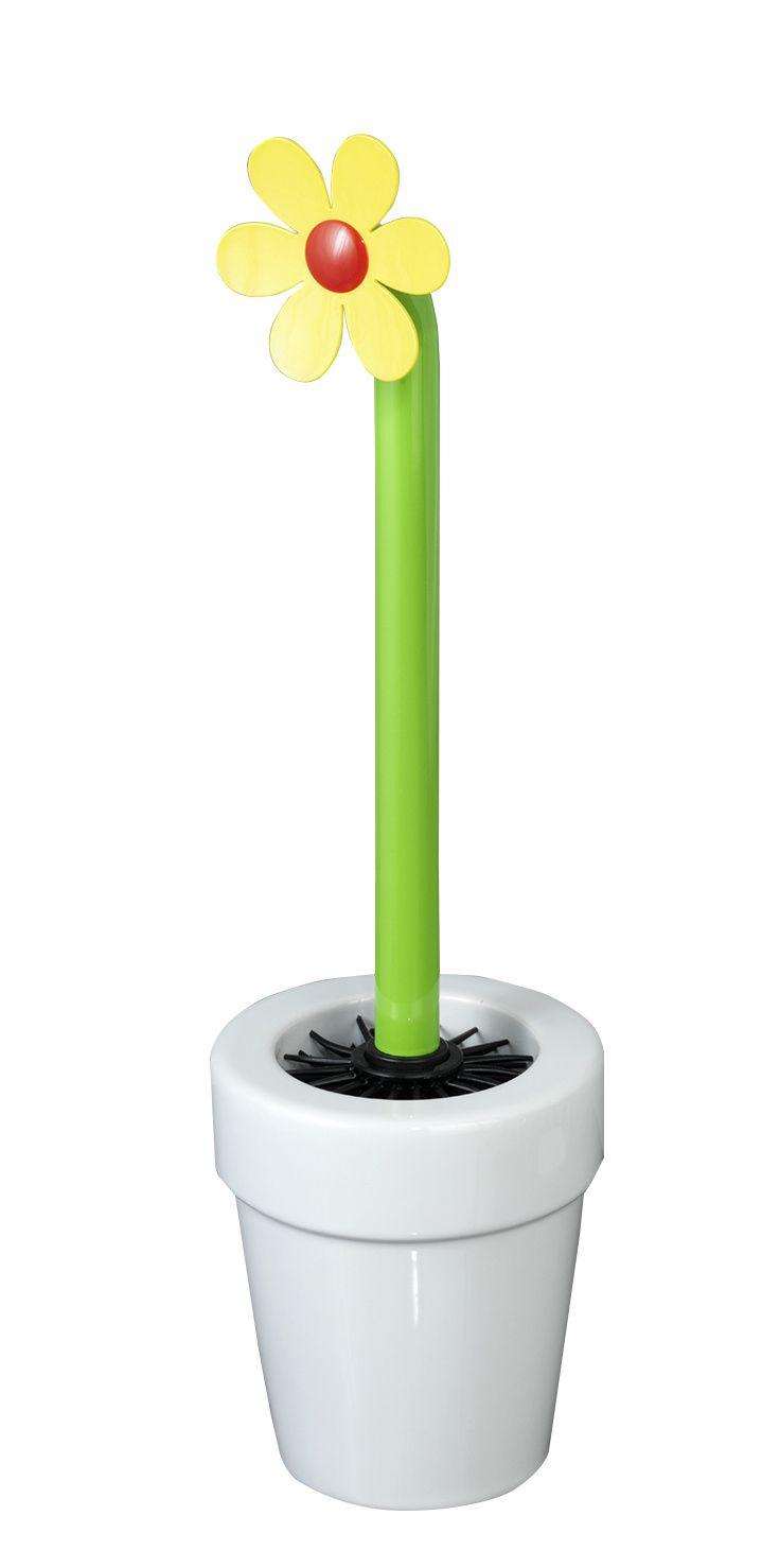 WENKO WC-Garnitur Lucky Flower Weiß  Description: Die ausgefallene WC-Garnitur Lucky Flower in Weiß von WENKO bringt Sommerlaune in jedes Bad und Gäste-WC! Die schöne WC-Garnitur besteht aus einem Blumentopf aus hochwertiger Keramik und einer Blumenbürste mit farbenfroher Blüte auf grünem Stiel. Der hochwertige schwarze Bürstenkopf ist aus Silikon gefertigt. Seine spezielle Anti-Haft-Wirkung sorgt dafür dass sich hartnäckige Reste und Toilettenpapier nicht in der Bürste festsetzen sondern…
