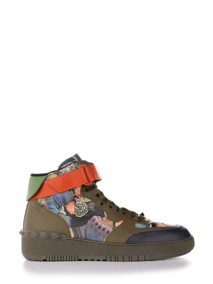 Kaki green leather high top sneakers by Valentino Garavani with camubutterfly pattern, rubber sole and rubber stud details on the heel.