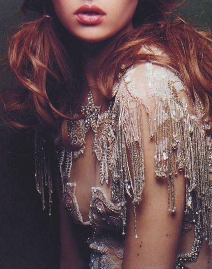 : Dresses Fashion, Vogue Uk, Sparkle Drip, New Fashion, Little Black Dresses, Fashion Photography, Beads Dresses, Fringes, Beautiful Lips