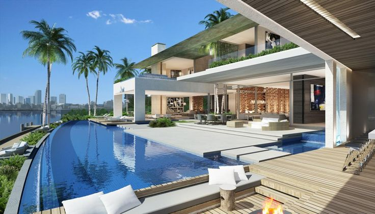 Gorgeous contemporary home design venetian islands for Pool design miami