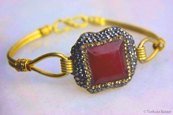 Nurgul Ruby & Swarovski Crystal 22k Goldplated by TurkuazBazaar, $80.00
