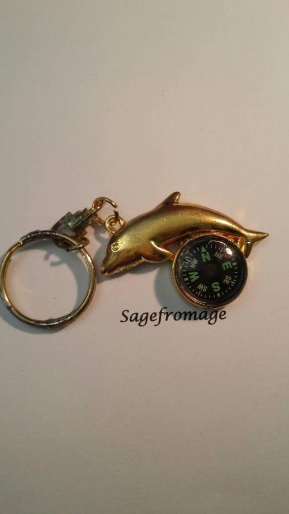 Dolphin Compass Keychain Etsy Compass Keychain Cute Necklace Keychain