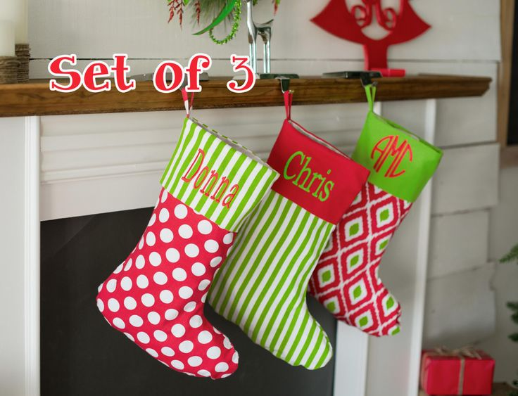 Personalized Family Christmas stockings, set of 3 monogrammed stockings, personalized Christmas stockings, SALE order early by PricelessKids on Etsy https://www.etsy.com/listing/208906041/personalized-family-christmas-stockings