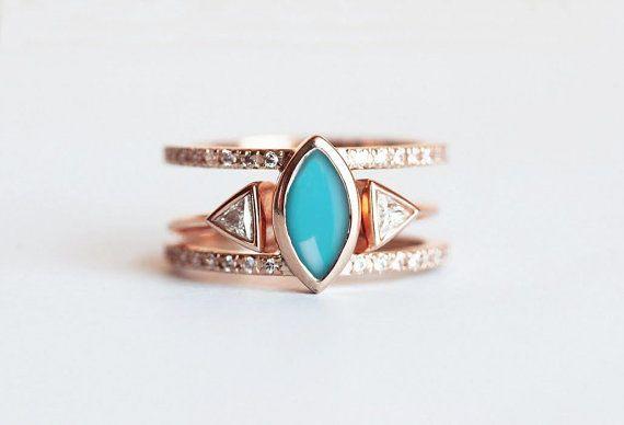 Turquoise Diamond Ring, Turquoise Engagement Ring, Turquoise Wedding Set…
