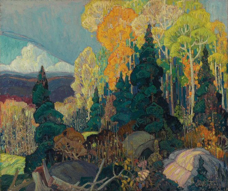 Franklin Carmichael, Autumn_Hillside. (2986×2503). Born: May 4, 1890 Orillia, Ontario, Canada. Died: October 24, 1945 (aged 55) Toronto, Ontario, Canada.