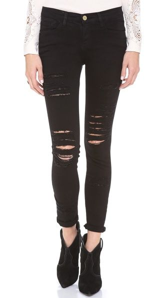 FRAME Denim Le Color Rip Skinny Jeans.