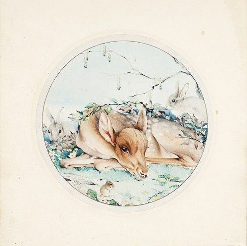 DETMOLD, Edward J. (artist). [Original watercolour of a recumbent fawn and forest animals].  1920. #bambi #illustration #nature
