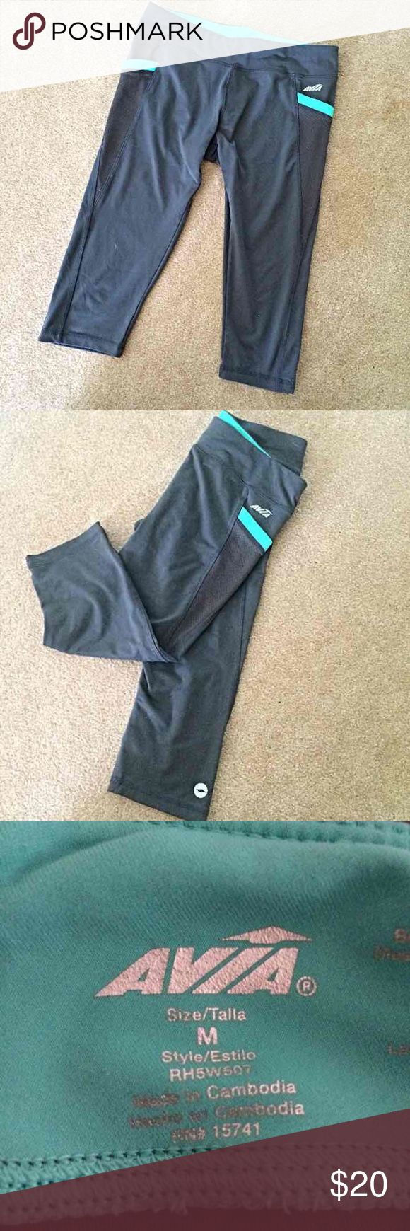 Avia Cropped Athletic Leggings Worn once! Like new! Amazing leggings but don't fit me right. Perfect for working out, running or yoga!   Tags: athlete work out gym yoga pants aqua blue grey athletic tight Avia Pants Leggings