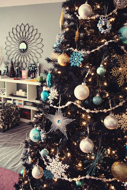 Blue Silver and Gold Christmas Tree - I like the snowflake ornaments