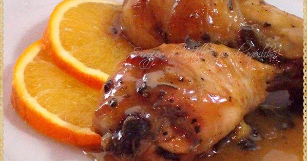 Fusi di pollo all'arancia, miele, zenzero ed erbe aromatiche