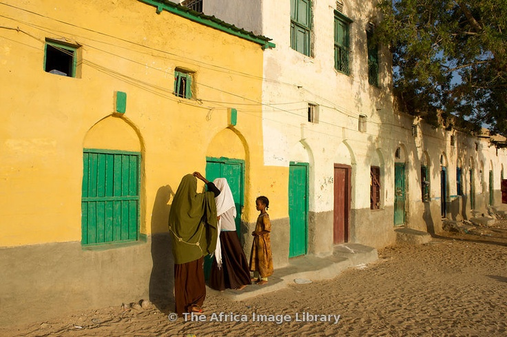 Girls outside their house, Berbera, Somaliland