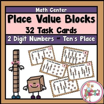 Spruce up your Place Value center with these cute Place Value Blocks to the Ten's Place. It includes 32 task cards to practice converting place value blocks into standard form. $
