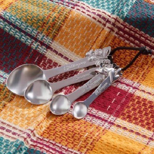 Measuring Spoons Pioneer Woman Metal Rustic Baking 4PC Set New Spoon Vintage #PioneerWoman