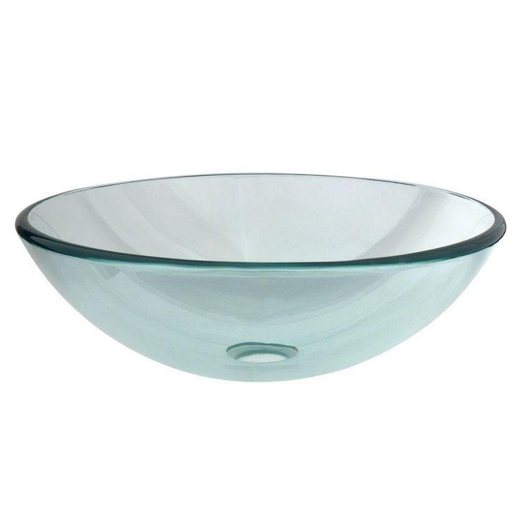 Kingston Brass Round Glass Vessel Sink in Clear - DEC