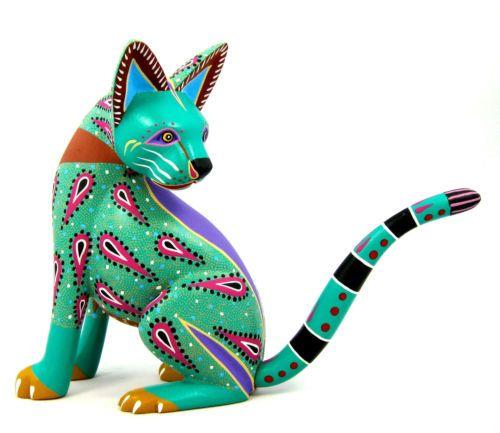 OAXACAN wood carving CAT by MAX & FRANCISCO MORALES - Alebrijes - OAXACA
