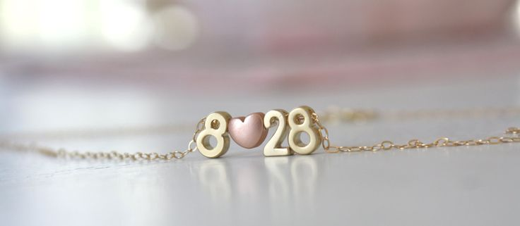 Gold Necklace Couples Necklace Number Necklace by AvaHopeDesigns, $32.00