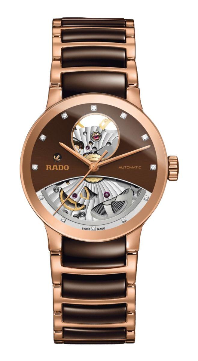 RADO Diamond Centrix Open Heart Automatic, chocolate high-tech ceramic & rose gold PVD watch. Made in Switzerland. R30248712. Authorized Rado Dealer. Free CDN shipping