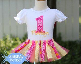 Limonada rosada personalizada tela Tutu primer cumpleaños conjunto