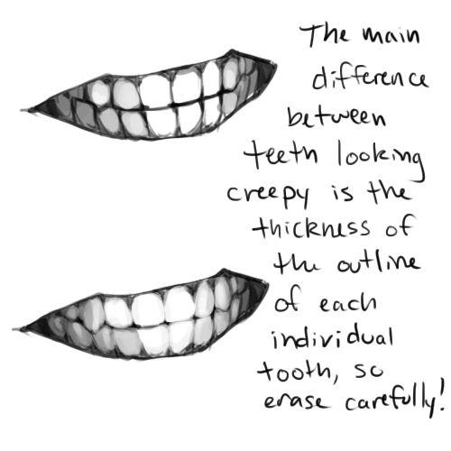 La principal diferencia entre los dientes que parecen espeluznantes es el grosor del contorno de cada diente individual, así que borre cuidadosamente