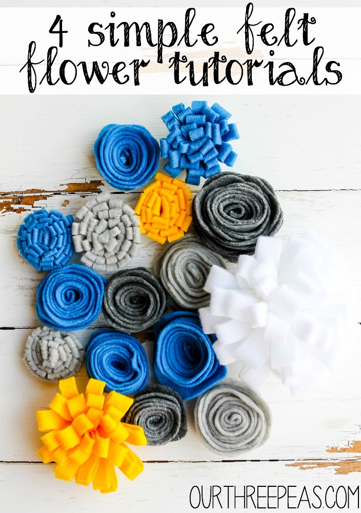 Create something beautiful out of felt by making these 4 simple felt flowers for your next wreath, headband, or whatever your creating! | Our Three Peas