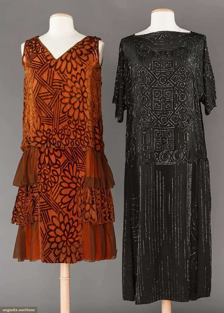 2 1920s party dresses: 1 beaded black chiffon & 1 rust velvet cut to chiffon