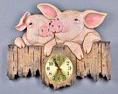 25% off until July 1 2015.Code promo 010615.Pigs, Clock Carved, Pig Clock, wood carving, wooden gift,Pig carved