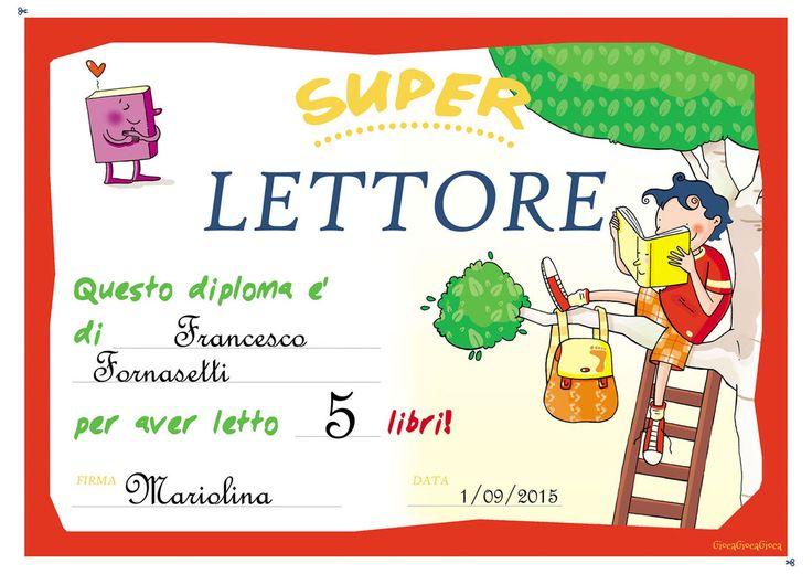 Il diploma del super lettore, per bambini che amano la lettura!