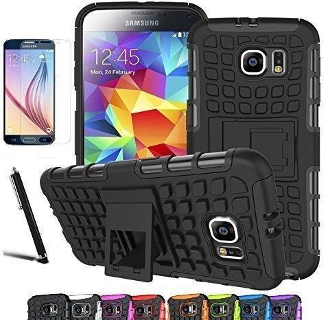 Galaxy S6 Case CINEYO(TM) heavy Duty Rugged Dual Layer Case with kickstand (Samsung Galaxy S6 case Black) (Black)