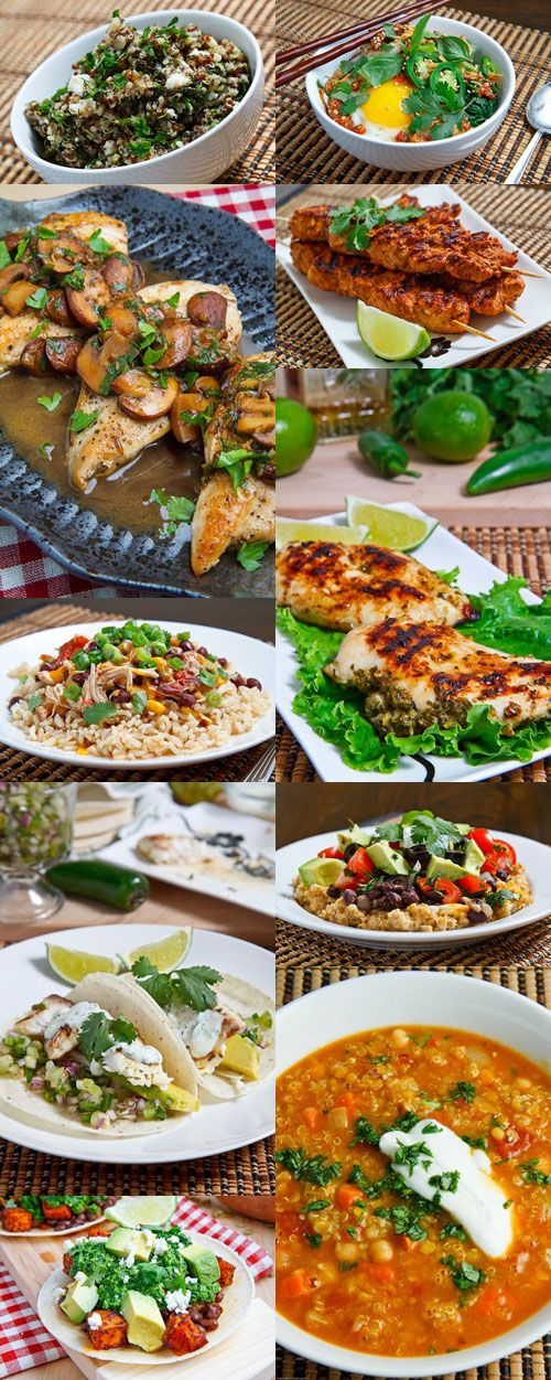 50 Healthy Recipes to Start the New Year Collage.  This guy's site is FANTASTIC.  I'm just going to start making these things for the next 50 weeks. These look amazing!!