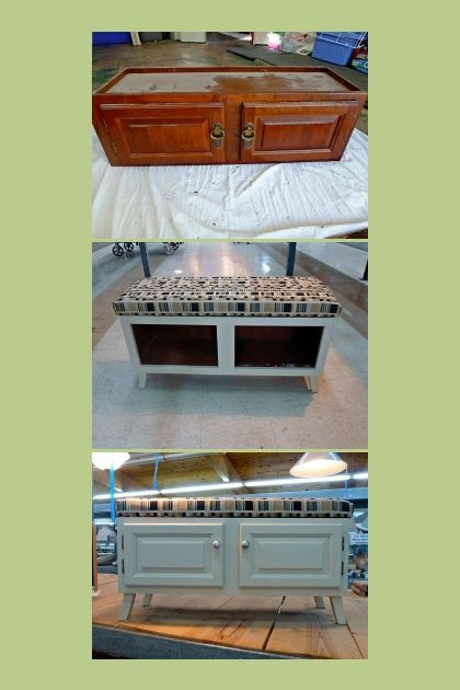 I took an old kitchen cabinet and turned it into a bench for a mud room or the front door. Looks good without the doors too.