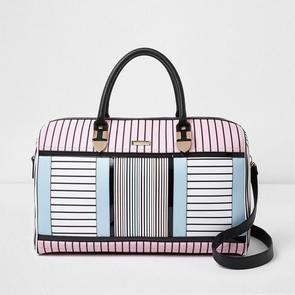 River Island White stripe print weekend bag ($140) ❤ liked on Polyvore featuring bags, luggage, bags / purses, suitcases, white and women